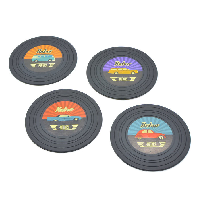 Retro Vinyl Car Coasters Set of 4 Display