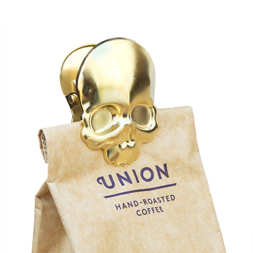 Skull Coffee Clip Brass Finish On Coffee Bag