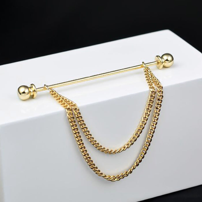 Gold Collar Bar Pin Round Knob Double Chain Display
