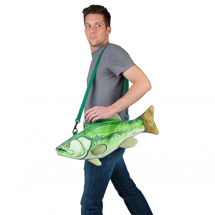 Fish Cooler Bag Fishing Green Image Display On Person