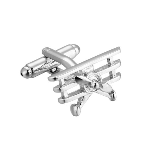 Airplane Cufflinks Triplane Silver Image Side View