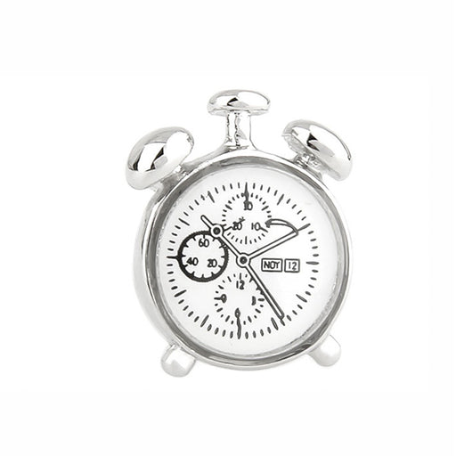 Classic Alarm Clock Cufflinks Silver Front