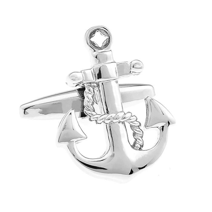Ship Anchor Cufflinks Silver Image Front