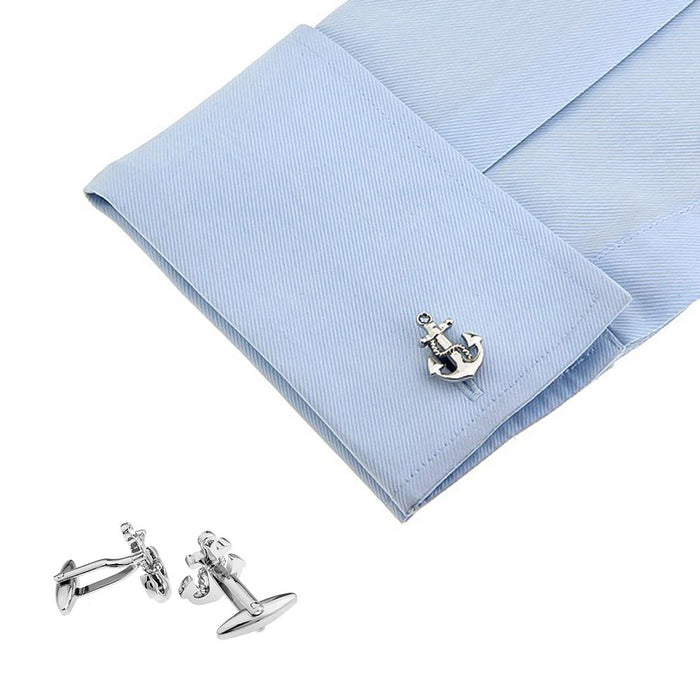 Ship Anchor Cufflinks Silver Image On Shirt Sleeve
