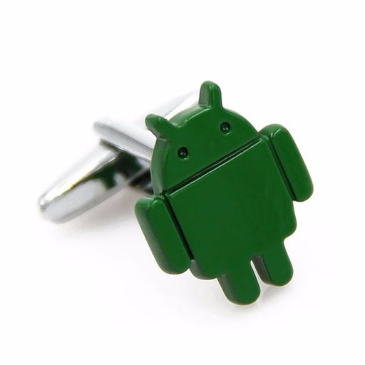 Android Robot Cufflinks Logo Green Front