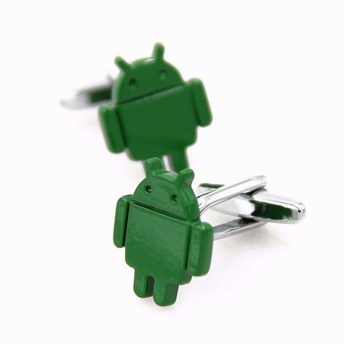 Android Cufflinks Robot Logo Green Pair