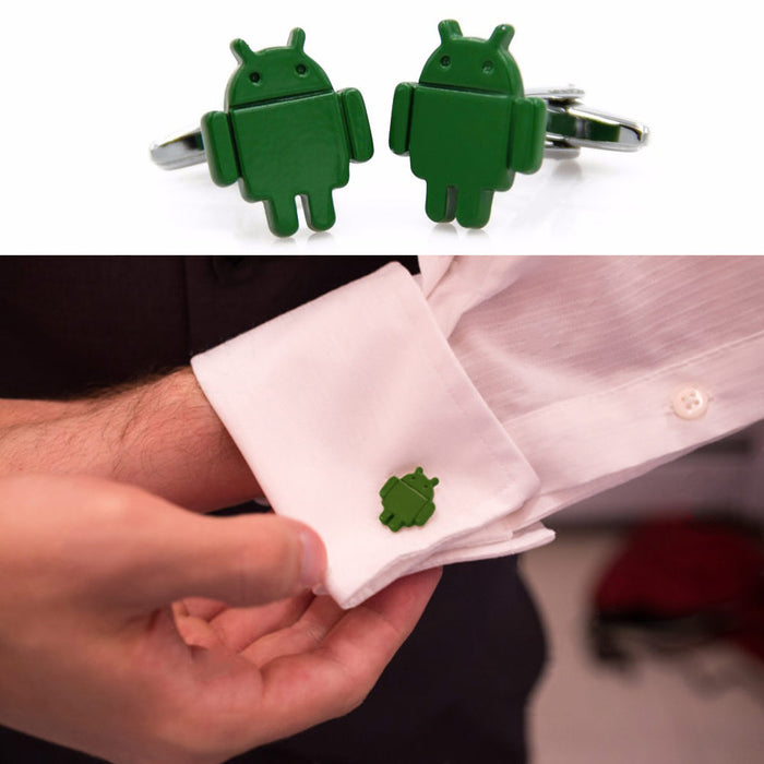 Android Robot Cufflinks Logo Green On Shirt Sleeve