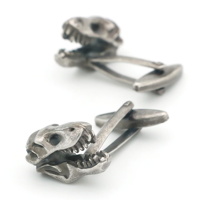 Dinosaur T-Rex Cufflinks Antique Silver Pair