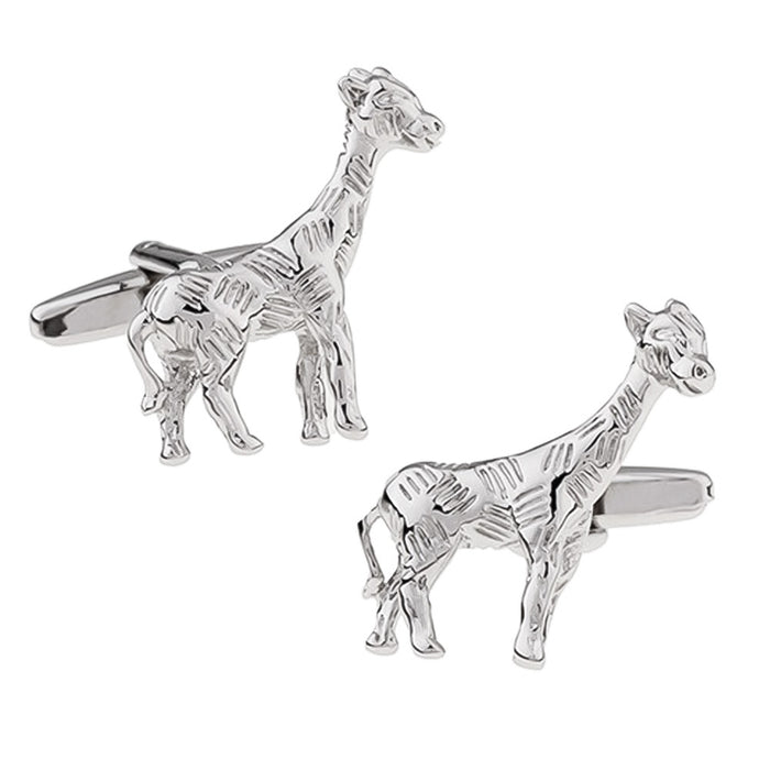 Giraffe Cufflinks South African Wildlife Animal Silver Image Pair
