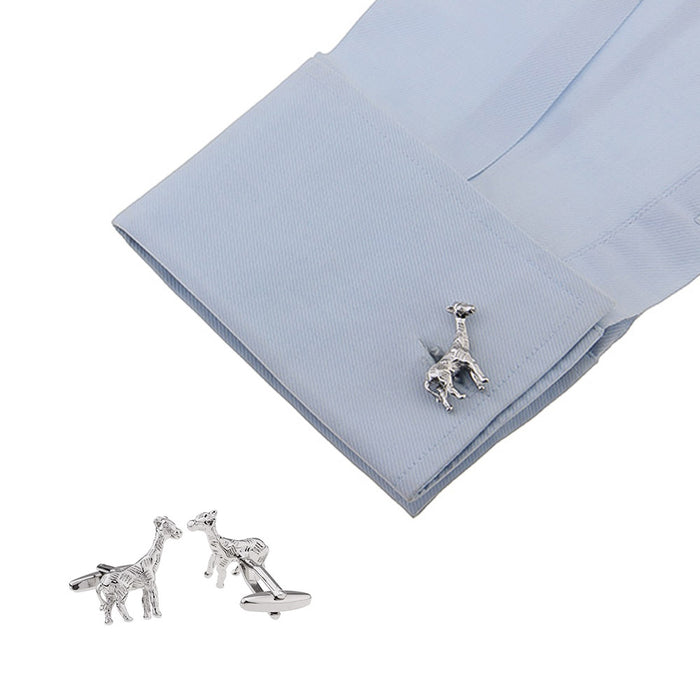 Giraffe Cufflinks South African Wildlife Animal Silver Image On Shirt Sleeve