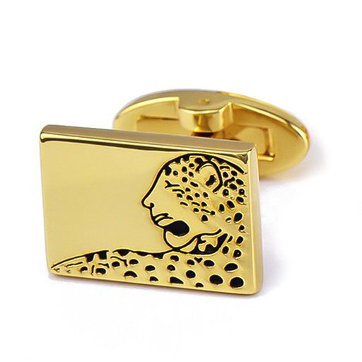 Leopard Cufflinks South African Wildlife Animal Gold Image Front