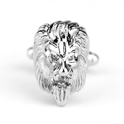 Lion Head Cufflinks Silver South African Image Front