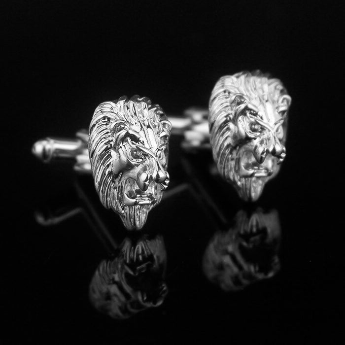 Lion Head Cufflinks Silver South African Image Pair Background