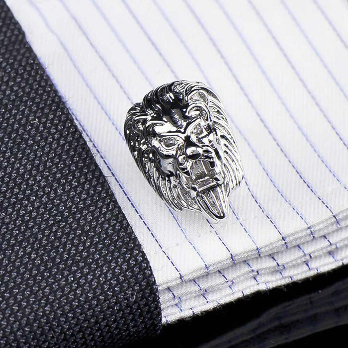 Lion Head Cufflinks Silver South African Image On Shirt Sleeve