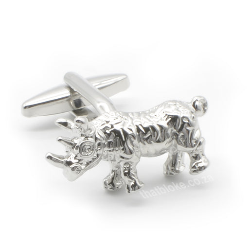Detailed Proudly South African Rhino Cufflinks Silver Front