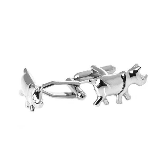 Rhino Cufflinks Silver South Africa Image Pair Front Side