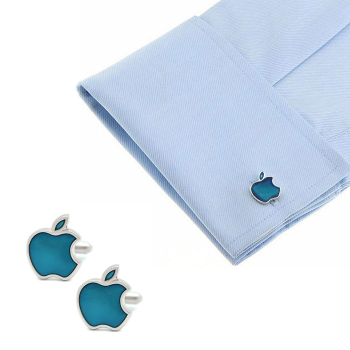 Apple Computers Cufflinks Silver Image On Shirt Sleeve