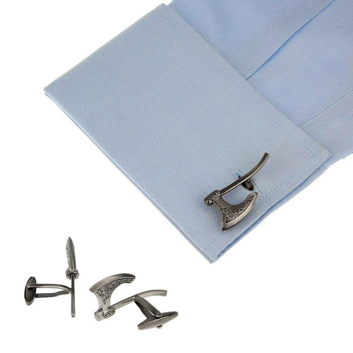Viking Axe Cufflinks Antique Silver On Shirt Sleeve Image