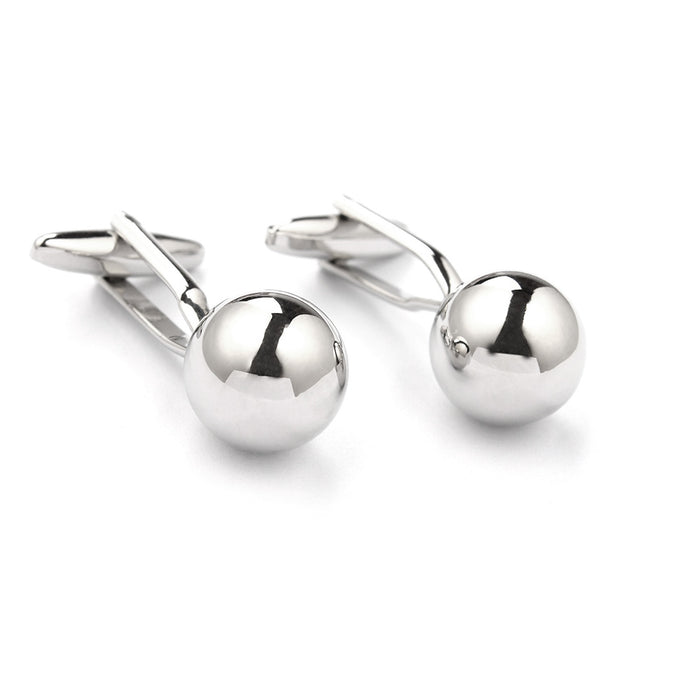 Classic Silver Round Ball Cufflinks Side View Pair
