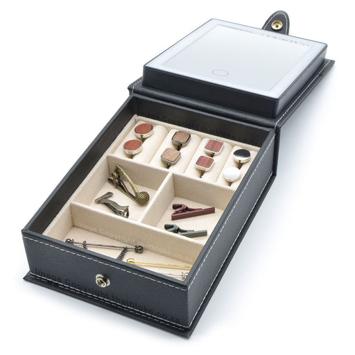 Tie Clip & Cufflink Box Travel Case With Mirror Open