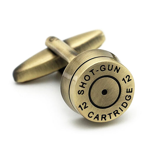 Shotgun Cartridge Bullet Cufflinks Bronze Front