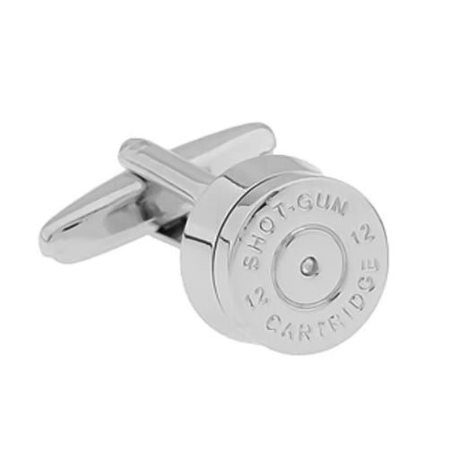 Silver Bullet Cufflinks Shotgun Cartridge Front