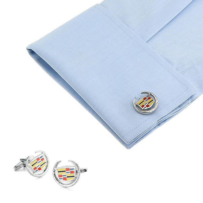 Cadillac Cufflinks Car Logo Silver Image On Shirt