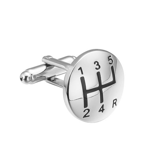 Car Gear Cufflinks Silver Shifter Front