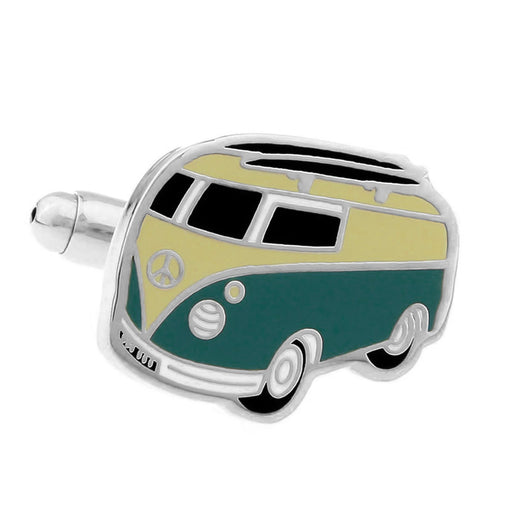 VW Kombi Cufflinks Silver and Dark Green Front