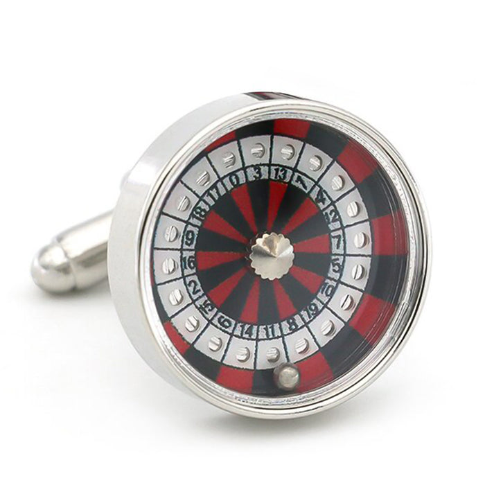 Casino Roulette Wheel Cufflinks for Gambling Silver Front