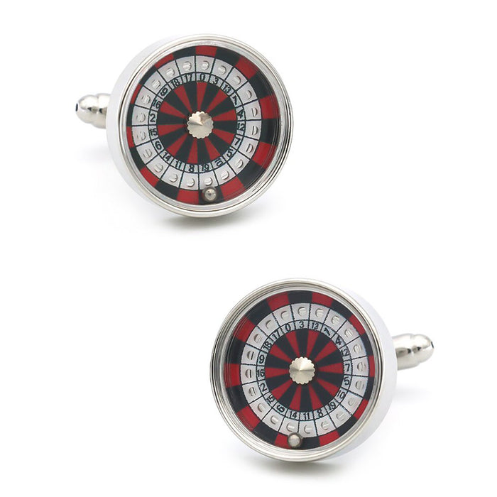 Casino Roulette Wheel Cufflinks for Gambling Silver Front Pair