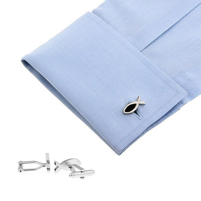 Cufflinks Christian Fish Symbol On Shirt Silver