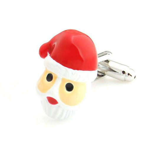 Christmas Santa Clause Cufflinks Red White Silver Front Image