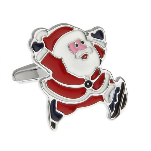 Christmas Running Santa Clause Cufflinks Red White Front Image