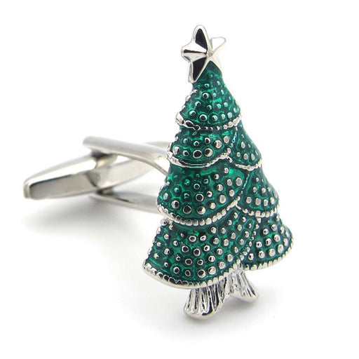Christmas Tree Cufflinks Green Silver Front Image