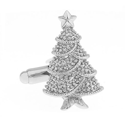 Christmas Tree Cufflinks Silver Front Image