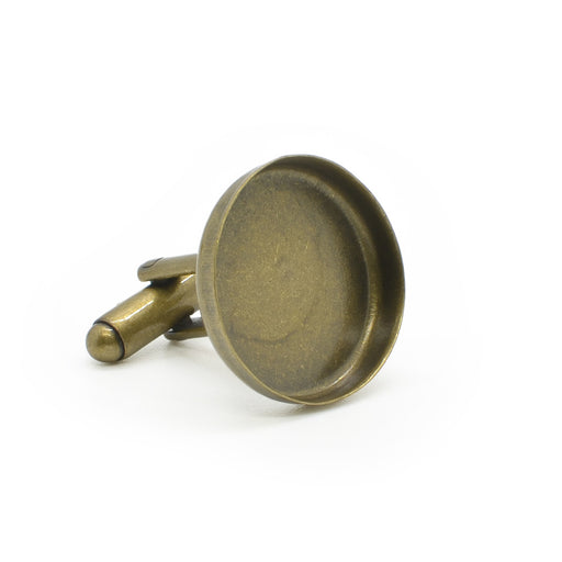 Personalised Cufflinks Antique Bronze Domed Glass Front Image