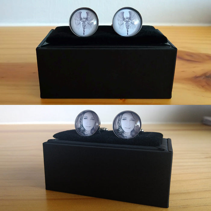 Cufflinks - Personalised With Dome Glass Setting (Light Silver)