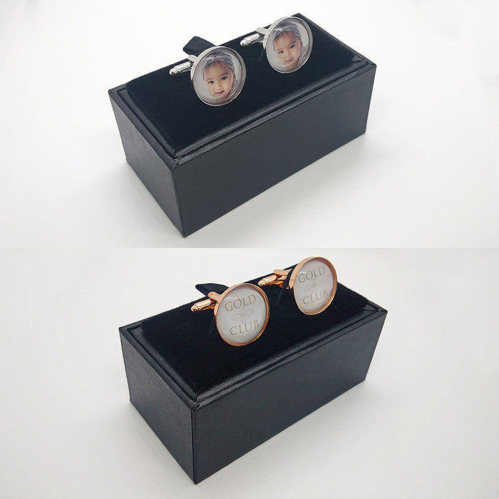 Cufflinks - Personalised With Dome Glass Setting (Dark Silver)