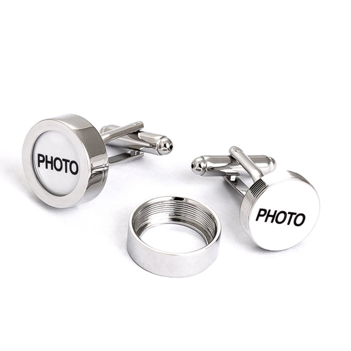 Photo Frame Cufflinks Screw On Top Silver Image Front Display Illustration