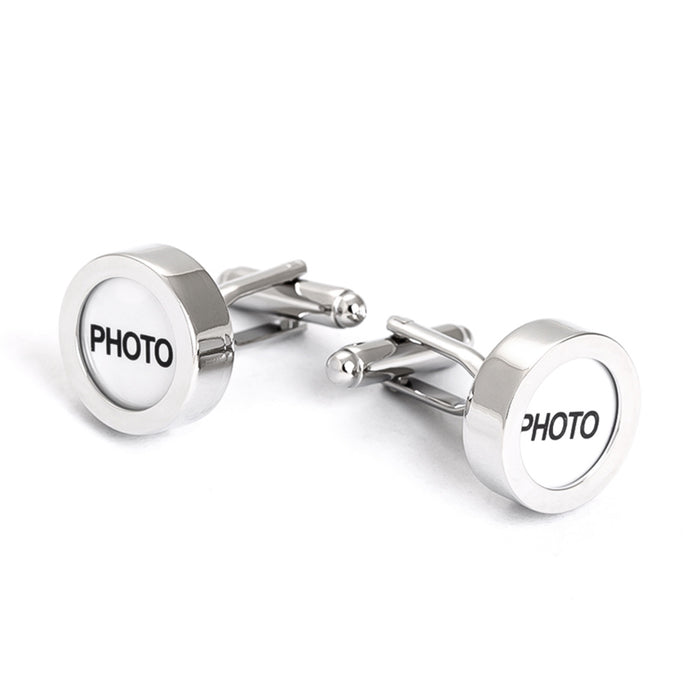 Photo Frame Cufflinks Screw On Top Silver Image Front Display Pair