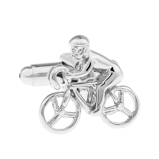 Cycling cufflinks Cyclist Bicycle Silver Image Front