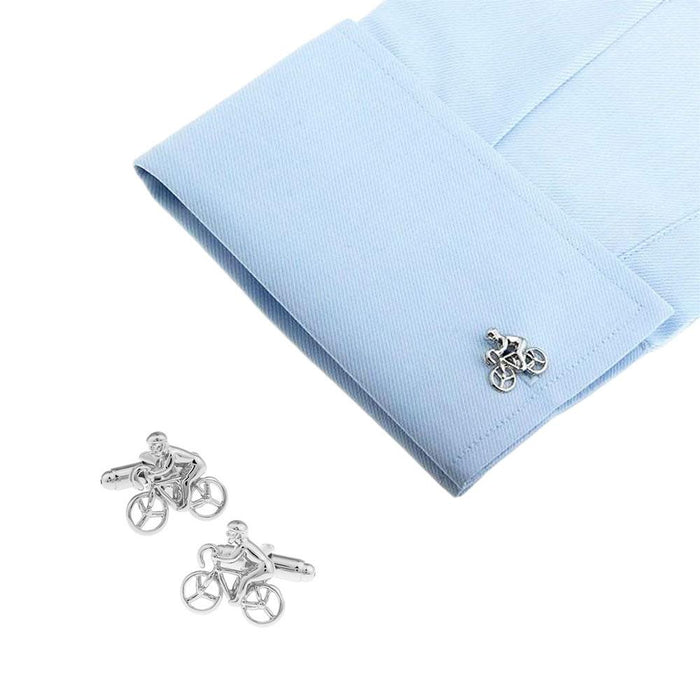 Cycling cufflinks Cyclist Bicycle Silver Image On Shirt Sleeve