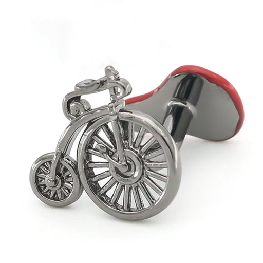 High Wheel Bicycle Cufflinks Gunmetal Black Front Image