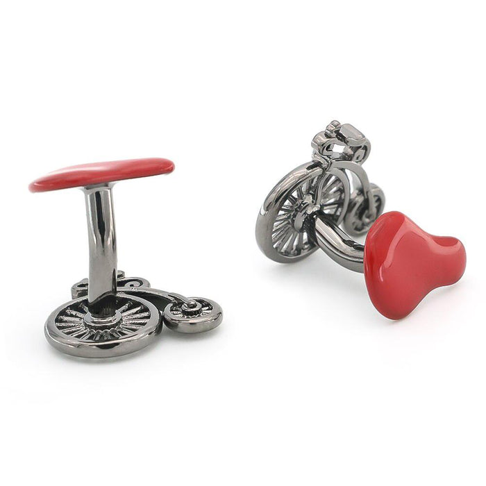 High Wheel Bicycle Cufflinks Gunmetal Black Pair Image