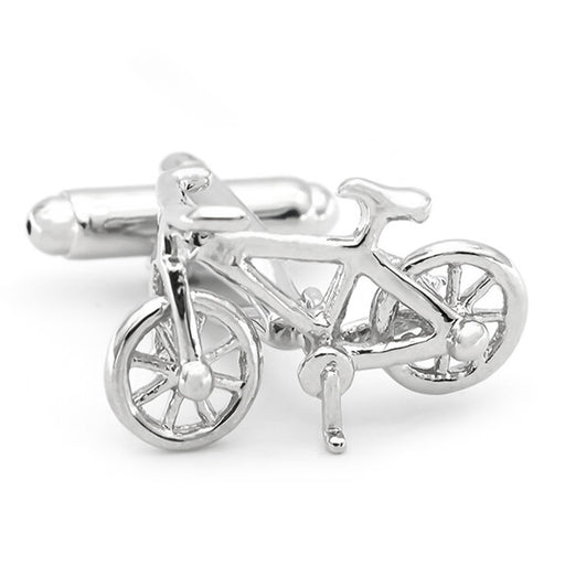 Mountain Bike Cufflinks Bicycle Silver Front