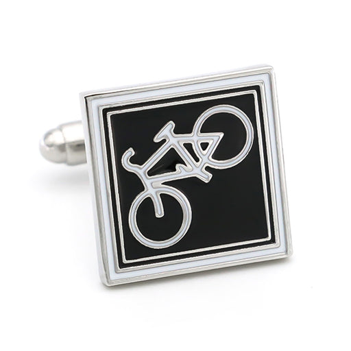 Mountain Bike Cufflinks Cycling Bicycle Sivler Image Front