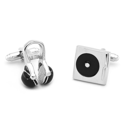 Music DJ Cufflinks Headphones Turntable Silver Image Pair Front
