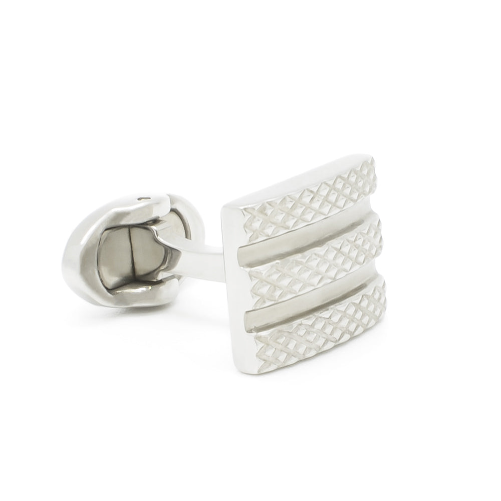 Cufflinks - Engraved Lines with Expanded Edge