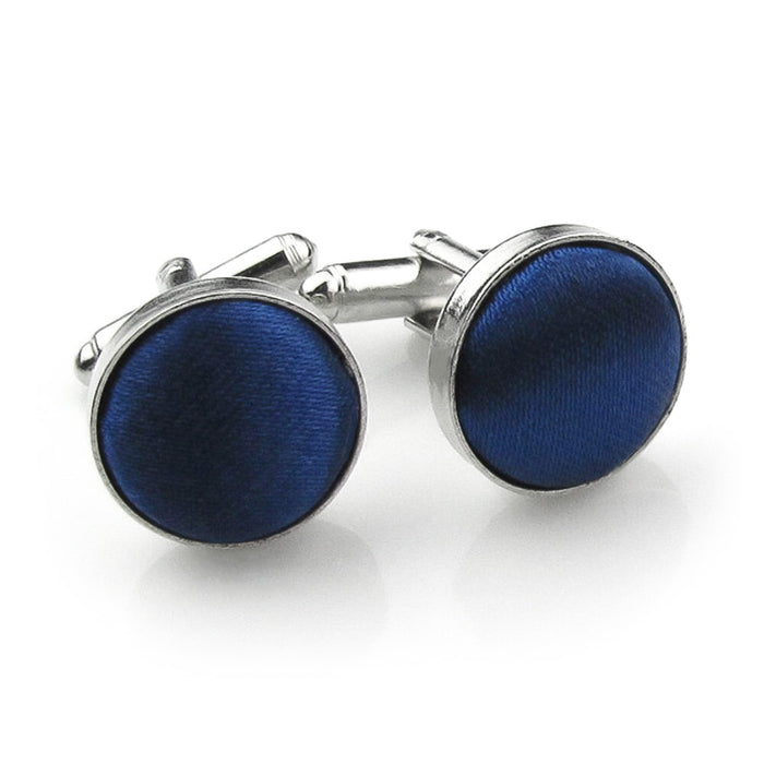 Royal Blue Fabric Cufflinks Material Silver